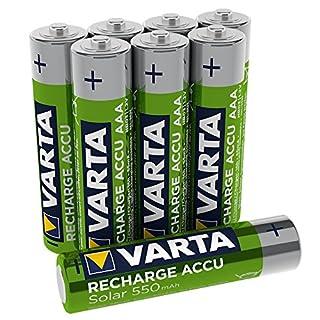 Varta 550 mAh AAA Solar Garden Light Accu Ni-MH Rechargeable Batteries (Pack of 8)