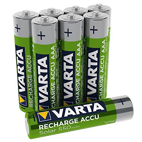 VARTA Recharge Accu Solar AAA Micro 550mAh Ni-Mh Akku (8er Pack, wiederaufladbar ohne Memory Effekt)