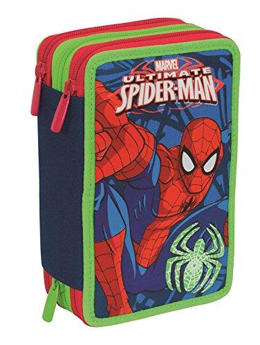 Estuche Escolar 3 Pisos – Marvel Ultimate Spiderman – Multi Compartimentos con lápiz, rotuladores, boligrafos… Azul Rojo