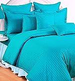Trance Home Linen 210 TC Cotton Duvet Cover with 2 Pillow Covers - Queen Size (Aqua Blue)