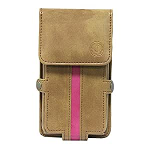 Jo Jo A6 Nillofer Series Leather Pouch Holster Case For ZTE Blade S7 Tan Pink