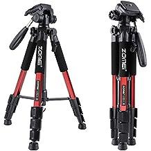 ZOMEI Q111 Trípode Profesional 139,7 cm con Bandeja de Pan Cabeza Rápida y Bolsa de Transporte para Cámara SLR DSLR SLR (Rojo)