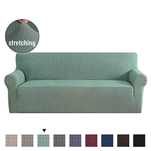 H.versailtex copridivano altamente elasticizzato 1 pezzo coprisofà, fondere per salotto divano a 3 posti, salvadivano per soggiorno, copridivano a 3 cuscini in jacquard lycra (divano: verde)