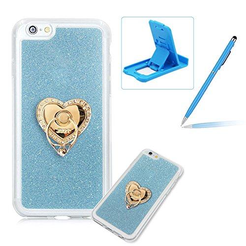 für iPhone 7 Plus Hülle Weiches Silikon Glitzer Schutzhülle Tasche Case, für iPhone 7 Plus Hochwertig Leicht Gummi Schutz Hoch Handyhüllen Schale Etui, Herzzer Modisch Luxus Silikon Bunt Hülle [Farbve Hellblau Ring Halter