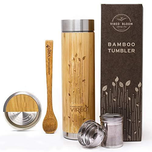 Botella Aislante Térmico con Colador de Té - Vireo Taza Térmica Taza de Bambú - Con Colador de Té y Tapa Botella de Acero Inoxidable - Eco Termo Máquina Fabricante de Té