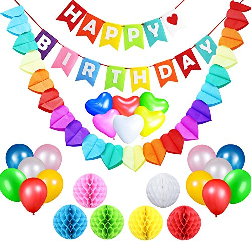 Dekoration Online Party (acetek Geburtstag Party Supplies Dekorationen Set, Happy Birthday Banner Flaggen, 6 farbenfrohen Pompon aus Seidenpapier Bälle, 18 Ballons, Heart & Star Form Girlande für Geburtstag, Baby Dusche, Braut,)
