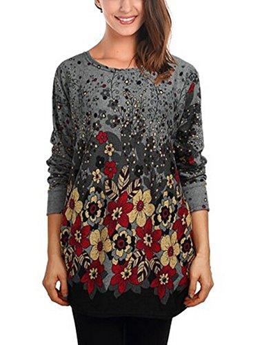 Donne alla moda motivo stampato manica lunga sciolto lungo tunica maglietta camicetta Tops Red Floral Dimensioni dell'etichetta