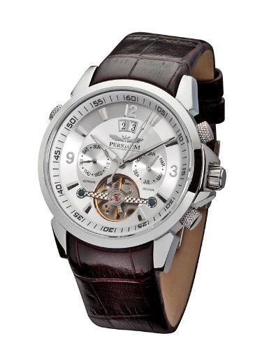 Perigaum p-0901-sw-brle–Reloj de pulsera de hombre, correa de piel color marrón
