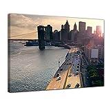 Bilderdepot24 Kunstdruck - New York City - Bild auf Leinwand - 50 x 40 cm - Leinwandbilder - Bilder als Leinwanddruck - Wandbild Städte & Kulturen - Sonnenuntergang in New York - USA