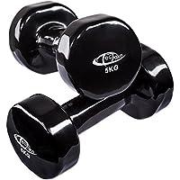 TecTake Conjunto de mancuernas de vinilo pesas aerobic | Superficie antideslizante | Varios modelos (5kg | negro | no. 402362)