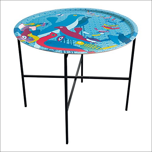 Images d'Orient - Table d'appoint - Plateau Amovible en placage de Bouleau Ø 65 cm et piètement Pliable en métal - Collection Birds of Paradise