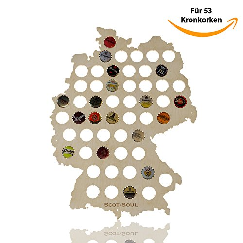 Idea regalo per festa del papà | birra germania scheda–perfetto per collezionisti | 53tappi in legno, 43x 35cm
