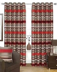 Chenille Streifen Rot Silber 90x72 gefüttert Ring Oberseite Curtains # Ortem Rap