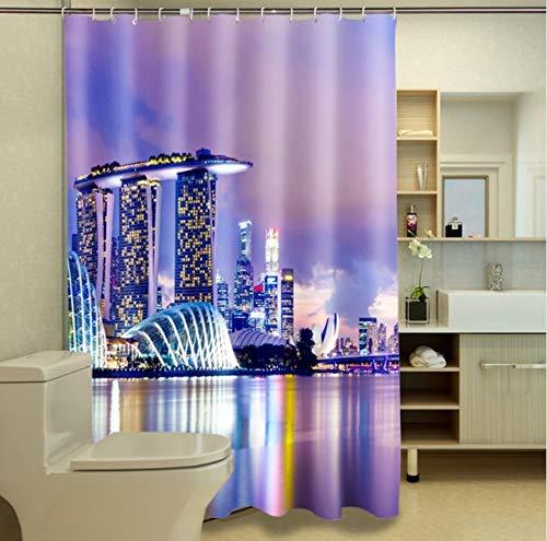 WIXIJAWR Singapur Stadt Bei Nacht Fotodruck Wasserdichter Duschvorhang 200X200Cm