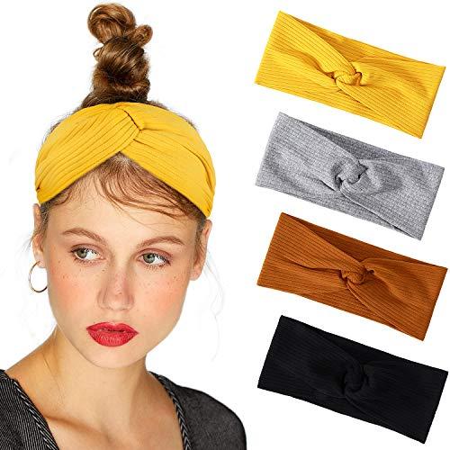 Bascolor Stirnband Damen elastische Haarband Kopfband Weich Turban Stirnband für Alltag Yoga Sport Fitness (4pcs baumwolle stirnband) -
