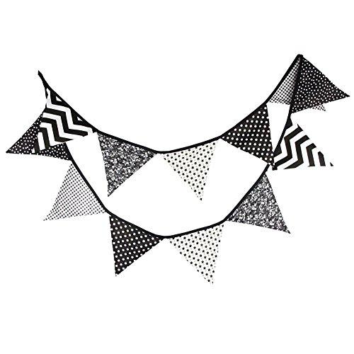 hosaire dreieckig Wimpelkette Flaggen Banner Baumwolle Flagge Hintergrund Garten Layout 3,2m (schwarz weiß grau)