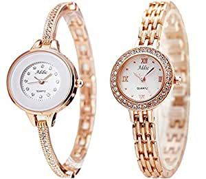 Addic Analogue White Dial Women's Watches -Combo of 2