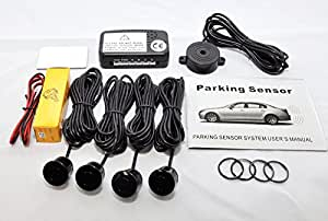 Parking Reversing Sensor Kit with 4 Sensors and Audio Buzzer in Black