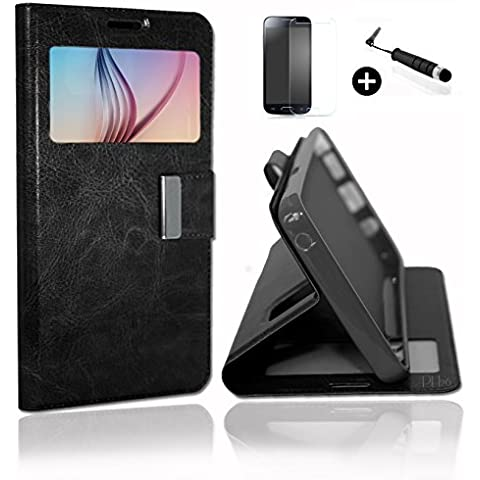 Wiko Jimmy Super Pack Premuim Custodia finestre Custodia Cover Foglio Nero PU + Mini PENNINO Screen Touch + vetro temperato durezza 9H, ultrasottile 0.20 mm Antigraffio anti-impronte haute-réponse alta trasparenza by PH26 ®