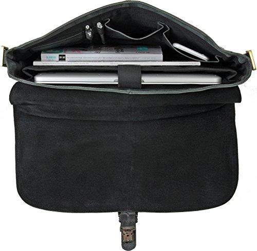 Robuste Aktentasche aus Leder, Lehrertasche Leder mit Laptopfach bis 13' DIN A4 Laptoptasche Damen aus Leder von URBAN FOREST - 40 x 28 x 10 cm, Farbe:Schwarz Schwarz
