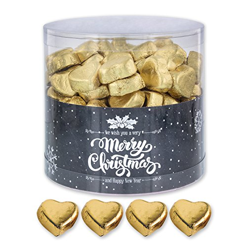 Günthart 150 Stück gold Schokoladen Herzen mit Nougatfüllung | Nougatcreme Granit | Schokoladenherzen gold Merry Christmas | Give away | goldene Herzen aus Schokolade | Weihnachten (1,2 kg)