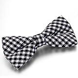 JewelryWe Fliege Schleife Verstellbar Kariert Karo Muster Gebunden Herren Anzug Hemd Hochzeit Business Krawatte Schlips