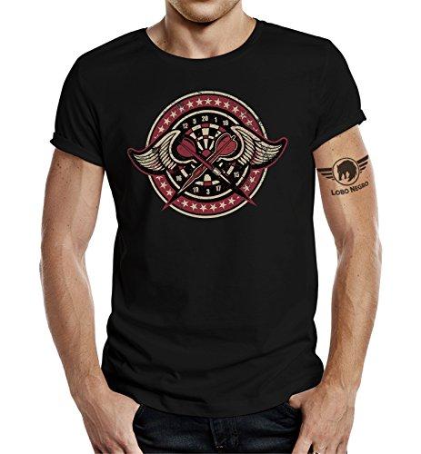 LOBO NEGRO® Original Design, T-Shirt für Den Dart Fan: Dart-Club 3 Schwarz Schwarz
