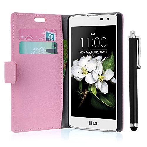 zStarLn® rosa Hülle Leder Tasche für LG K7 Hülle Handytasche Zubehör Schutzhülle Etui + Stylus pen und 3 Films Schutzfolie