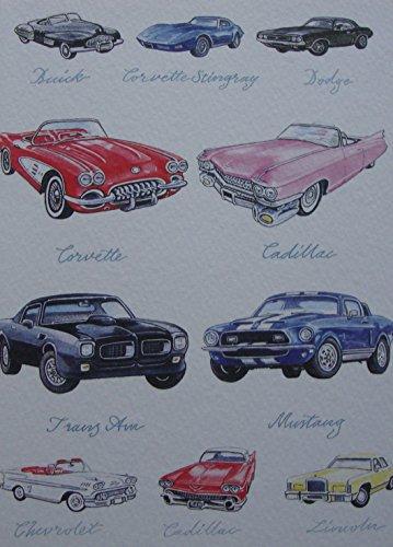 great-american-greetings-card-corvette-cadillac-buick-corvette-dodge-mustang-lincoln