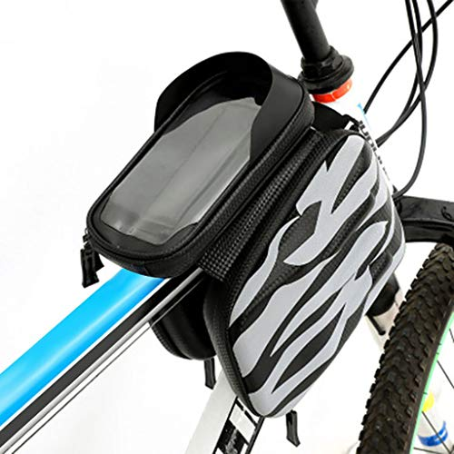 htfrgeds Bike Frame Bag, Cycling Frame Pannier Mobile Phone Holde, Waterproof Resistant Cycling Front Tube Frame Pannier Mountain City Road Bicycle Crossbar Bag Pouch Holder für Smartphone