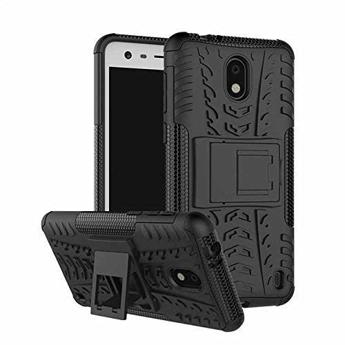 Qzey Tough Hybrid Flip Kick Stand Spider Hard Dual Shock Proof Rugged Armor Bumper Back Case Cover For Nokia 2 - Rugged Black  available at amazon for Rs.185