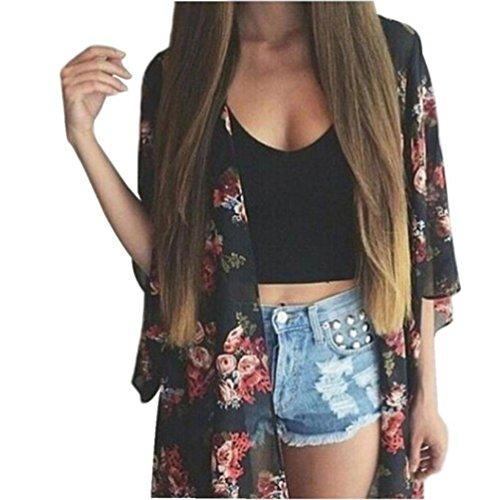 Zolimx Sommer Frauen mit Blumenmuster Kimono Cardigan Bluse Tops (S) (Rock Schwarz Gebändert)