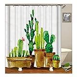 Gnzoe Polyester Badewanne Vorhang Kaktus Bonsai Muster Design Duschvorhang Mehrfarbig für Badezimmer/Badewanne 90X180CM