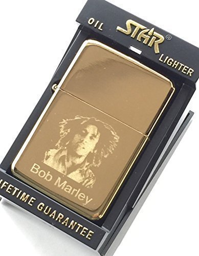 Bob Marley Genius Oro Star Accendino + Novità 59mm Distintivo (TG15)