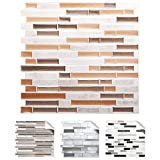 4er Set 3D Mosaik Fliesenaufkleber selbstklebend Küche Bad Fliesendekor I 27 x 25,4 cm rosegold taupe metallic weiß marmor I Design 2 Grandora W5534
