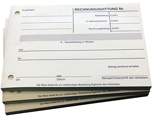 8x Block Quittung Rechnung - Quittungsblock - 2 x 50 Blatt DIN A6 - gelocht - SD -durchschreibend (22233)