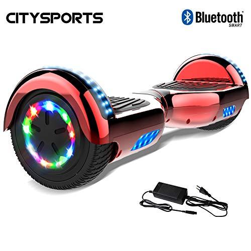 CITYSPORTS Hoverboard 6.5 Pollici, Scooter Elettrico dell'equilibrio di Auto, Ruote Leggere del LED, Bluetooth, Motore 700W