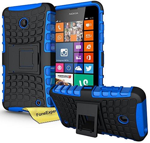 FoneExpert® Nokia Lumia 630 635 - Etui Housse Coque ShockProof Robuste Impact Armure Hybride Béquille Cover pour Nokia Lumia 630 635 + Film de Protection d'Ecran (Bleu)