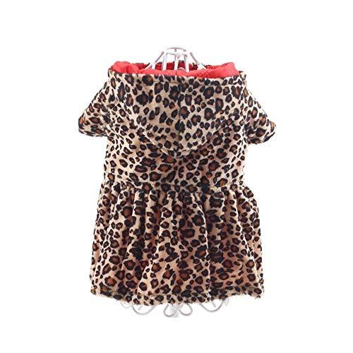 W.Z.H.H.H Haustier Kostüm Haustier-Kleidung-Welpe verdickte Strickjacke-Leopard-Druck-KleidHoodie-Hundekleidung Haustier-Kleidung Haustier-Kleidung (Color : Red+Leopard, Size : 10/S) -