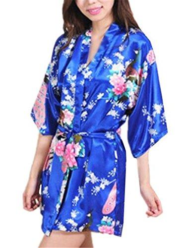 BESTHOO Nachthemden Damen Kurzarm Elegantes Sleepwear Kimono Schnürung Nachthemd Female Floral Gedruckte Nachtkleid Gemütlich Weich Pyjamas