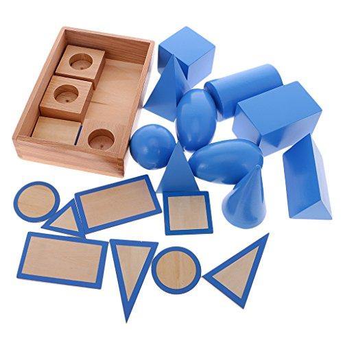 MagiDeal Solidi Geometrici Legno Bambini in età Montessori Materiale Prescolare Matematica Educativo Regalo Giocattolo Giochi Scientifici