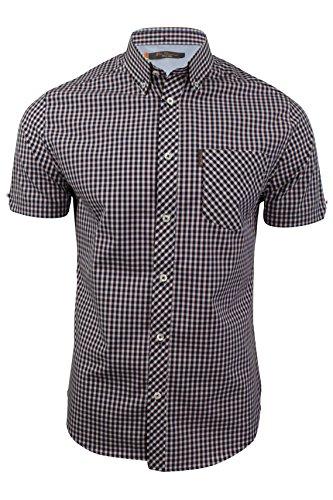 ben-sherman-camisa-casual-cuadrados-clasico-manga-corta-para-hombre-rojo-scooter-large