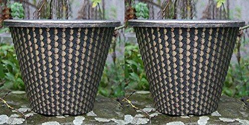 2-x-28cm-planter-round-plastic-garden-flower-outdoor-planters-herb-pot-bucket-wilsons-direct-2-x-bla