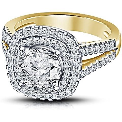 Moda Vorra 925 plata esterlina simulada redonda blanco anillo de diamantes, anillo solitario con acentos