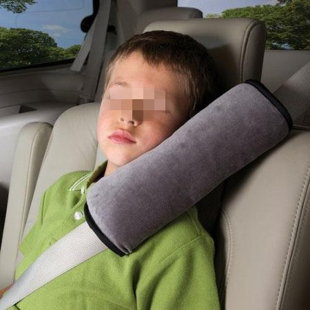 Kinder Auto weichen Sitz Gürtel Schulter Pad Kissen Kopfstütze Kissen (grau)
