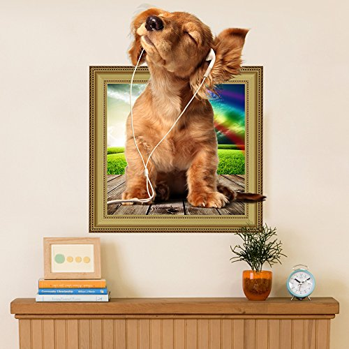 Dokfh Abnehmbare Hunde Haustiere niedlichen Welpen Mops 3D Foto Frame Effekt Fenster Wandaufkleber Vinyl Poster Kinder Baby Kinderzimmer Dekor Aufkleber
