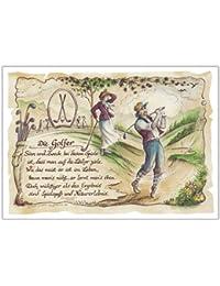 Geschenk Golf Golfer Golfspieler Zeichnung Color 20 x 15 cm