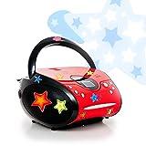 etc-shop CD Player FM Radio Kinder Boombox Musik Stereo Anlage im Set Inklusive Sternchen Sticker