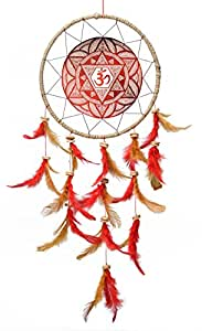 Rooh dream catcher ~ Canvas Om Maroon ~ Handmade Hangings (Can be used as Home Decor Accents, Wall Hangings, Garden, Car, Outdoor, Bedroom, Key chain, Meditation Room, Yoga Temple, Windchime)