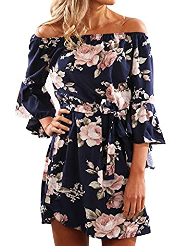 Women Summer Pullover Navy Blue Flare Sleeve Slash Neck Off Shoulder Strapless Chiffon Sexy Elastic High Waist Casual Beach Party Dress Floral Print Day Short Dresses Navy